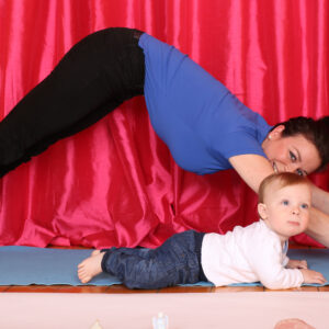 Pregnancy Yoga demonstration with baby